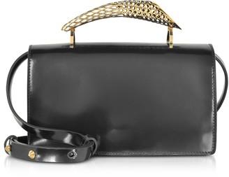Maissa Black Glossy Leather Middle Horn Shoulder Bag w/Gold Brass Middle Horn