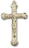 Blissliving Home Rounded-Edge Etched 14Kt Rosary Crucifix