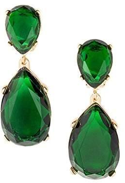 Kenneth Jay Lane Color Crystal Double Teardrop Statement Pierced Earrings