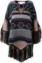 Chloé fringed poncho - women - Acrylic/Polyamide/Cashmere/Wool - M