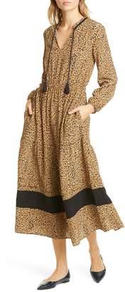 Dolan Sabine Cheetah Print Long Sleeve Midi Dress