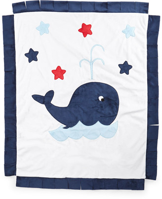 Boogie Baby Plush Whale Blanket, White/Navy