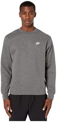Nike NSW Club Crew (Charcoal Heather/White) Men's Clothing