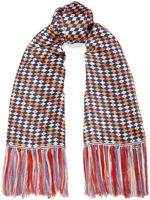 Gabriela Hearst Rhombus Fringed Printed Silk-twill Scarf