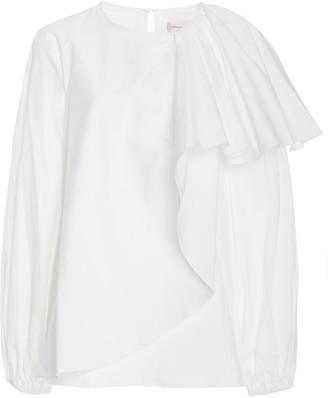 Carolina Herrera Draped Cotton Poplin Puff-Sleeve Top