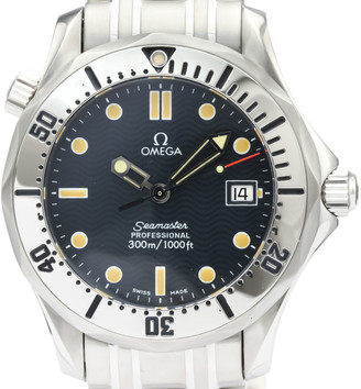Omega Blue Stainless Steel Seamaster Professional 300M 2562.80 Men's Wristwatch 36 MM