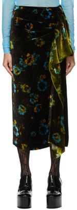 Dries Van Noten Black and Green Degrade Ruffle Skirt