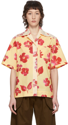 Wales Bonner Yellow Floral Havana Short Sleeve Shirt