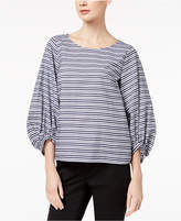 Marella Cotton Striped Bubble-Sleeve Top