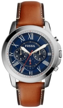 Fossil Men's Chronograph Grant Light Brown Leather Strap Watch 44mm FS5210