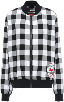 Love Moschino Appliqued Gingham Twill Bomber Jacket