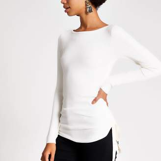 River Island Womens Cream ruched side ribbed long sleeve top