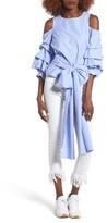J.o.a. Women's Ruffle Sleeve Tie Front Top