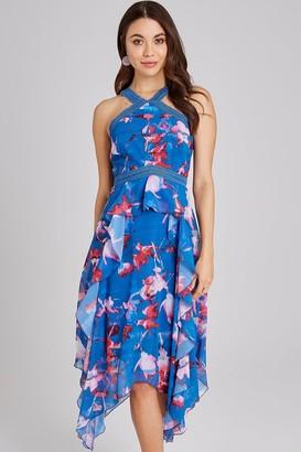 Little Mistress Mattie Floral-Print Frill Midaxi Dress