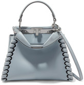Fendi Peekaboo Mini Whipstitched Leather Shoulder Bag - Light blue