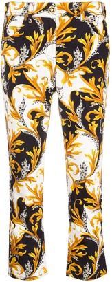 Versace Acanthus print cropped jeans
