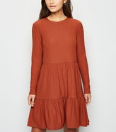 New Look Petite Long Sleeve Tiered Smock Dress