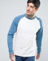 Farah Zenlak Long Sleeve Baseball Top Slim Fit in Ecru/Blue