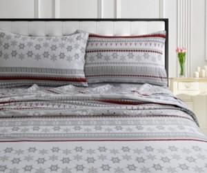 Tribeca Living Holiday Print Flannel Extra Deep Pocket Cal King Sheet Set Bedding