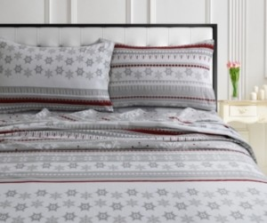 Tribeca Living Holiday Print Flannel Extra Deep Pocket Cal King Sheet Set Bedding