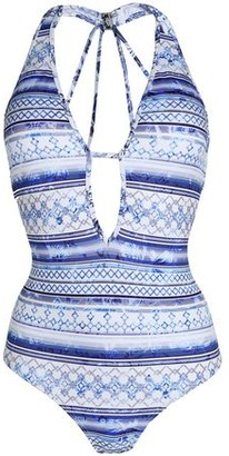 Jets Provence Plunge Cutout Printed Swimsuit