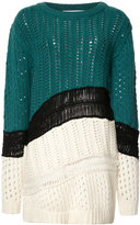 Prabal Gurung chunky knit colour block jumper - women - Cashmere - XS