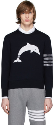 Thom Browne Navy Dolphin Icon Sweater