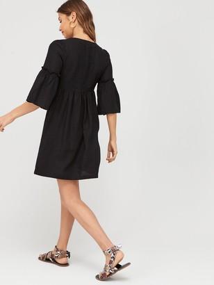 Very Linen Button Through Tunic - Black