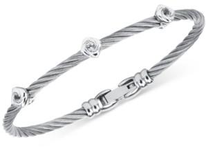 Charriol Women's Debutante White Topaz Cable Bangle Bracelet (1/2 ct. t.w.) in Stainless Steel & Sterling Silver