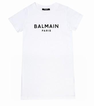 Balmain Kids Logo cotton T-shirt dress
