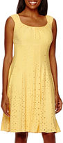 London Times Sleeveless Eyelet Fit-and-Flare Dress