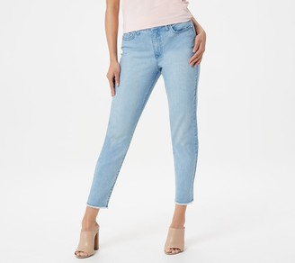 H by Halston Petite Premier Denim Straight Ankle Pants w/ Seam and Pleat