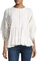 Lumie Lace-Inset Poncho Top, Off White