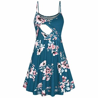 So Buts Maternity Dress SO-buts Women Pregnant Maternity Floral Flower Print Nusing Baby Breastfeeding Summer Sling Dress Beach Party Dresses (Blue M)