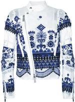 Sacai embroidered organza biker jacket