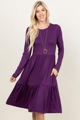 Riah Fashion Three-Layer Midi Pocket-Dress