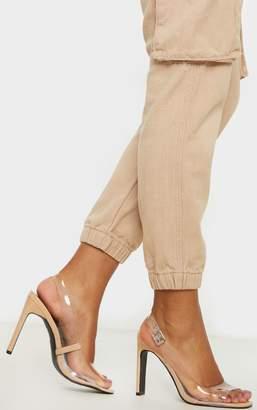 PrettyLittleThing Nude Wide Fit Square Toe Flat Heel Slingback Sandal