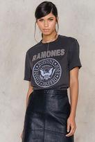 Amplified Ramones Logo Silver Diamante T-Shirt