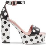 RED Valentino Polka-Dot Leather Platform Sandals