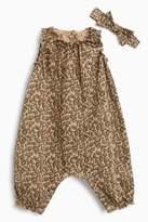 Next Girls Animal Print Jersey Romper And Headband Set (0mths-2yrs) - Brown
