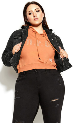City Chic Denim Street Jacket - black
