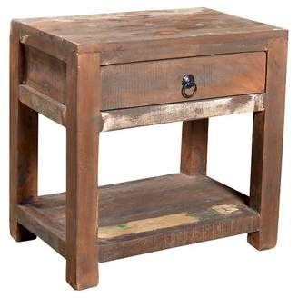 Mid-Century MODERN Timbergirl Reclaimed Wood Side Table and Drawer Natural