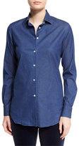 Loro Piana Kara Denim Button-Front Blouse, Insignia Blue