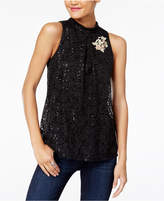 BCX Juniors' Embellished Lace Top