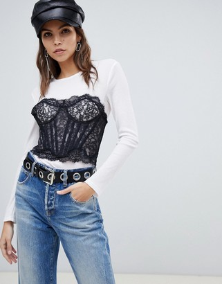 Miss Sixty bralette detail long sleeve top