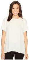 Vince Camuto Short Sleeve High-Low Hem Blouse with Back Yoke Lace Women's Blouse