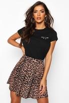boohoo Leopard Print Box Pleat Skater Skirt