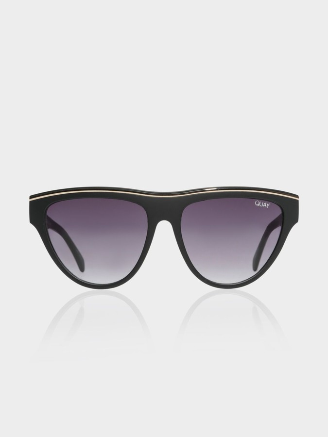 Quay Flight Risk Sunglasses in Black Smoke