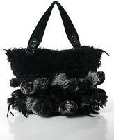 Nicole Lee Black Gray Faux Leather Fur Ball Embellished Shoulder Handbag