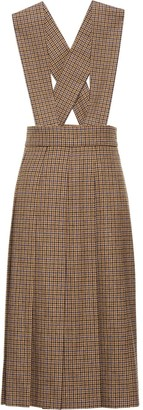 Miu Miu Houndstooth Pleated Midi Dress